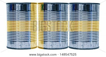Three tin cans with the flag of Sweden on them isolated on a white background.