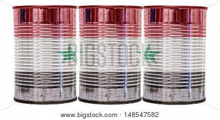 Three tin cans with the flag of Syria on them isolated on a white background.