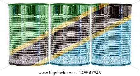 Three tin cans with the flag of Tanzania on them isolated on a white background.