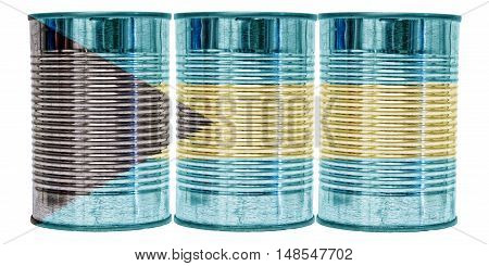 Three tin cans with the flag of the Bahamas on them isolated on a white background.