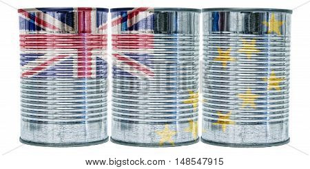 Three tin cans with the flag of Tuvalu on them isolated on a white background.