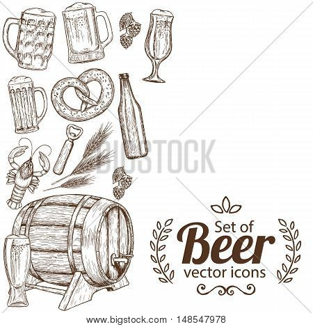 Side vertical border with sketch vintage beer icons. Template for packaging cards posters menu. Vector stock illustration.