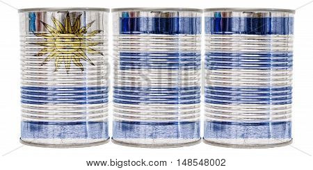 Three tin cans with the flag of Uruguay on them isolated on a white background.