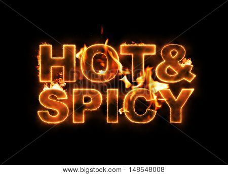 Hot & Spicy text on fire on black background. Computer generated 3D rendering composited with flames.