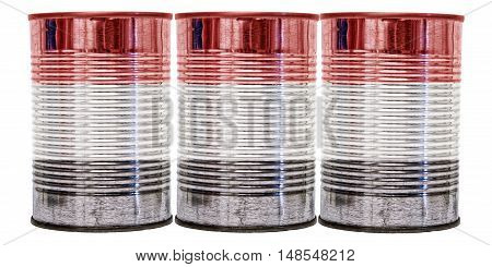 Three tin cans with the flag of Yemen on them isolated on a white background.