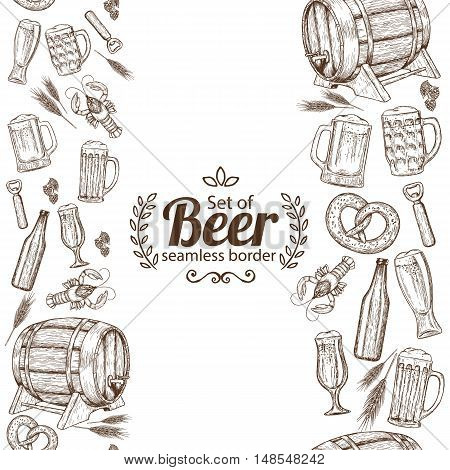 Vertical seamless borders of sketch vintage beer icons. Vector stock illustration.