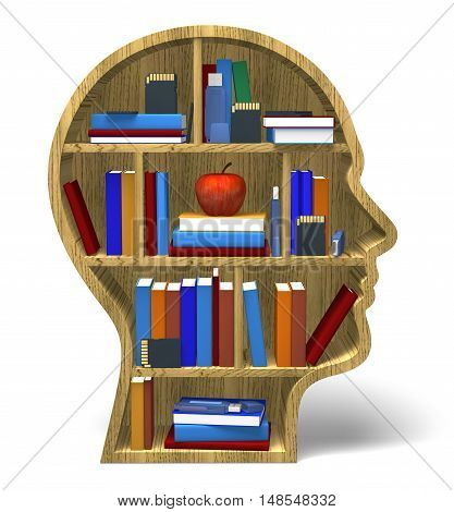 Intelligence 3D intellect books memory creativity face