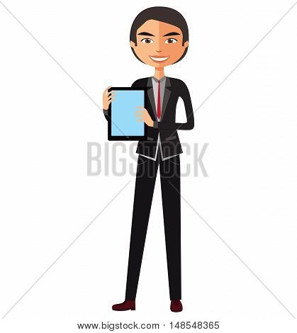 Happy man character with tablet flat cartoon vector illustration. Eps10. Isolated on a white background.