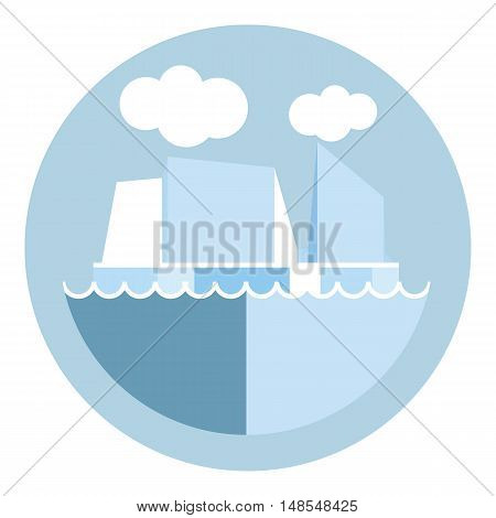 Digital vector iceberg and glacier icon, clouds and ocean water, global warming, flat style