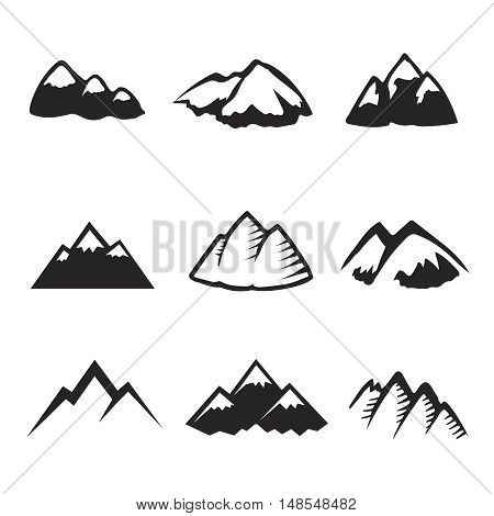 Mountains icons isolated on white. Tourism, hiking and camping silhuettes. Mountain peak and travel logo vector
