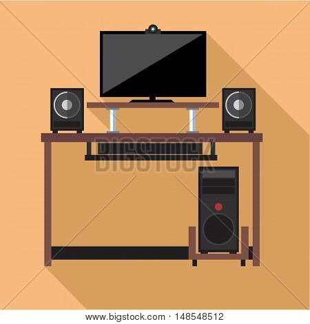 Digital vector pc computer with monitors and web camera set with furniture, flat style