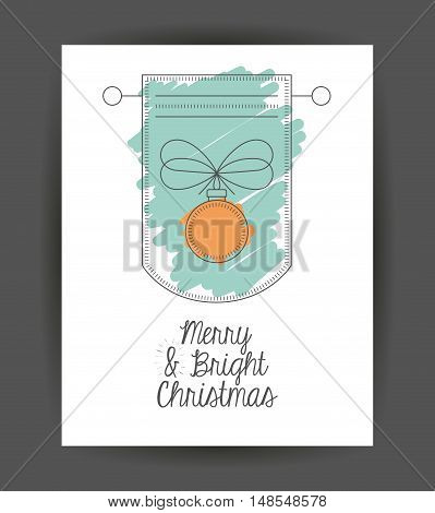 Sphere inside frame icon. Merry Christmas season and decoration theme. Sketch and draw design. Vector illustration