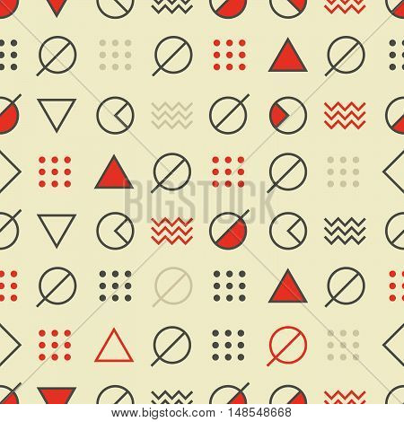 Abstract Seamless Modern Art Pattern. Mix of Geometric Shapes. Vector Illustration in Mosaic Style. Red and beige