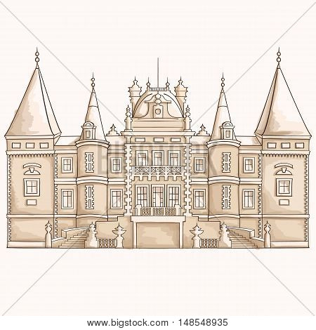 Medieval castle sketch. The facade of the palace. Hand drawn graphic illustration.