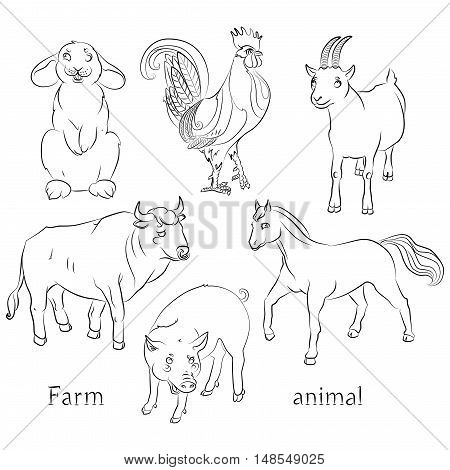 black and white image of a bull goat pig horse and rabbit - suitable for a child's coloring and not only. For your convenience each significant element is in a separate layer. eps10