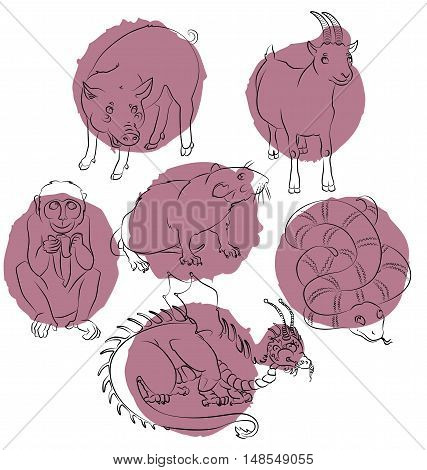 Six Chinese calendar animals dragon snake pig rat monkey and goat. For your convenience each significant element is in a separate layer. eps10