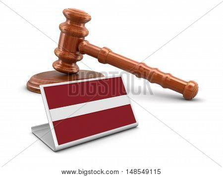 3D Illustration. 3d wooden mallet and Latvian flag. Image with clipping path