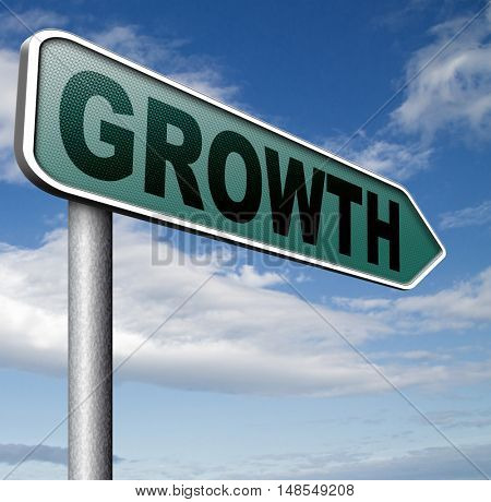 growth grow market stock or business development profit rise increase  sign with text and word 3D, illustration