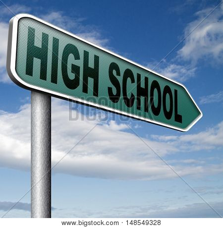 high school education choice or search find good education 3D, illustration