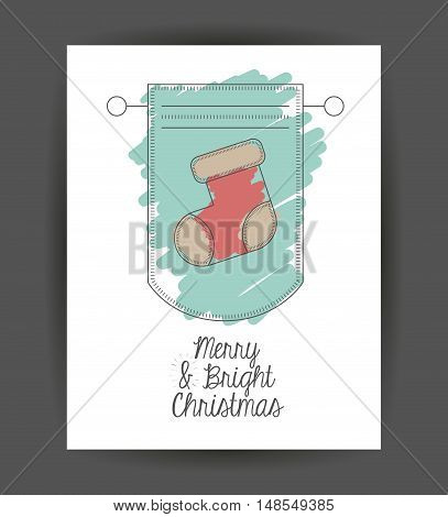 Boot inside frame icon. Merry Christmas season and decoration theme. Sketch and draw design. Vector illustration
