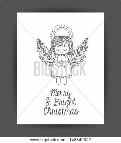 Angel inside frame icon. Merry Christmas season and decoration theme. Sketch and draw design. Vector illustration