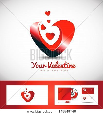 Heart valentine love dating vector logo icon design
