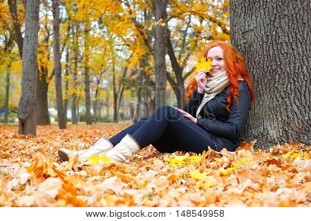 girl sit on fallen yellow leaves in autumn forest