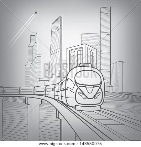 Train move on the bridge. Business center, architecture, transport and urban illustration, silver city, skyscrapers and towers, vector design art