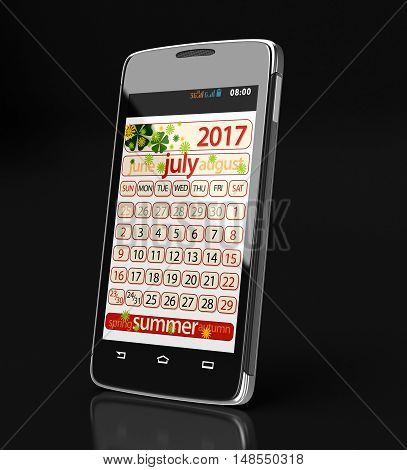 3D Illustration. Touchscreen smartphone with july 2017. Image with clipping path.