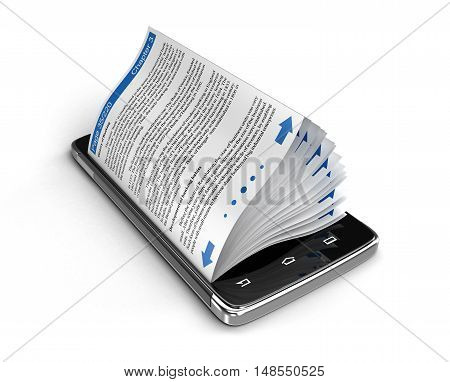 3D Illustration. Touchscreen smartphone and business books. Image with clipping path.