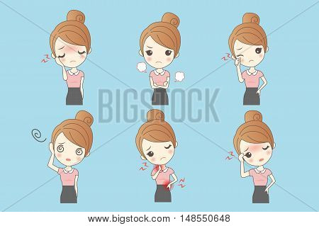cartoon businesswoman show a variety of expressions