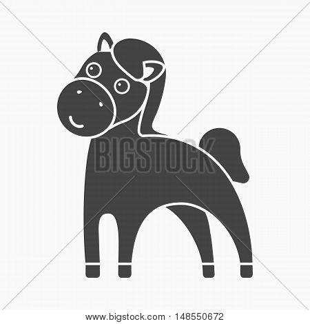 Horse black icon. Illustration for web and mobile.