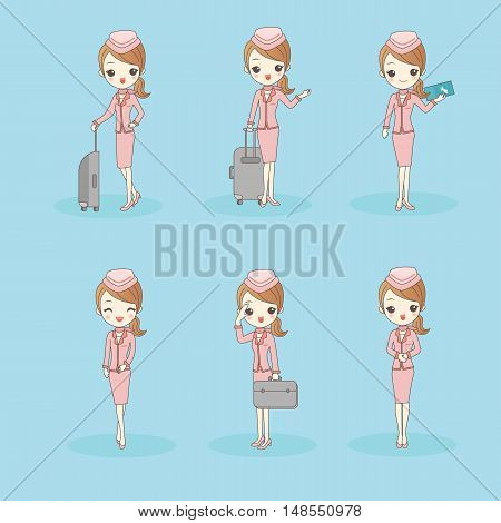 cartoon flight attendant smile to you great for your design