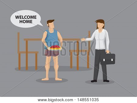 House husband carrying baked pie saying Welcome Home to wife returning home from work. Vector cartoon illustration on unconventional reversed gender role in modern society concept.