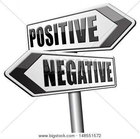 positive or negative optimism or pessimism bright side of life positivity and no negativity 3D, illustration
