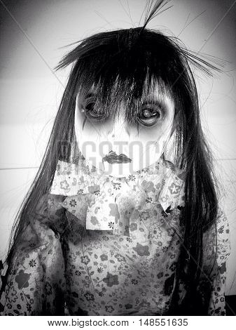 surreal black and white alien gothic doll