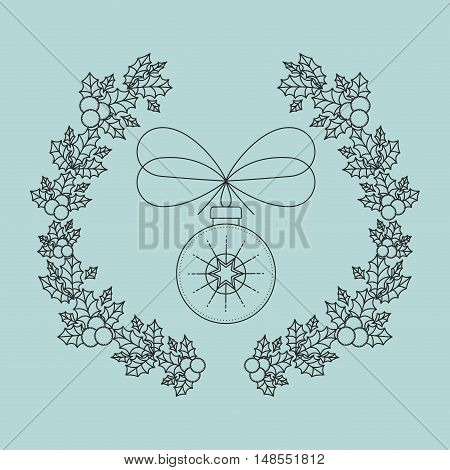 sphere inside ornament and rustic leaf crown icon. Merry Christmas season and decoration theme. Vector illustration