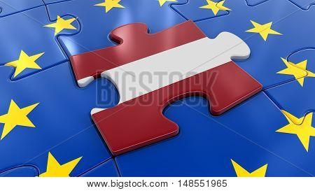 3D Illustration. Latvian flag Jigsaw as part of EU