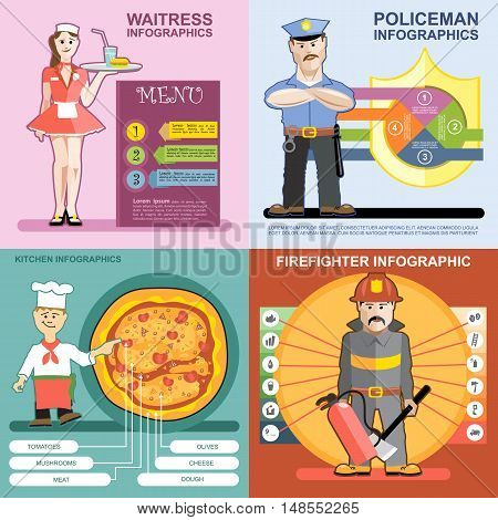 Digital vector infographics icon set, waitress, kitchen and pizza, police and firefighter, flat style