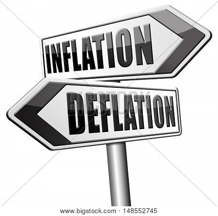inflation deflation bank crisis or financial and economic recession or stock market rise sign 3D, illustration