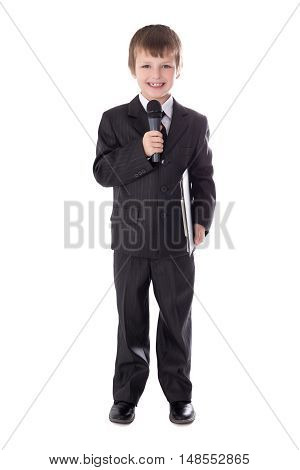 Cute Little Boy In Business Suit With Microphone Isolated On White