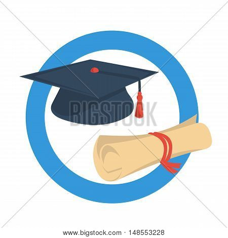 Vector round icon of academic graduate cap and diploma scroll on white background. Concept of online education or student success in flat style