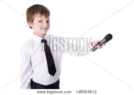 Cute Little Boy In Business Suit With Microphone Taking Interview Isolated On White