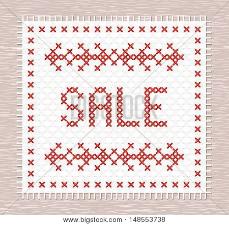 Cross stitch sale banner. Vector illustration. Coupon for discount flyer. Discount embroidered badge.