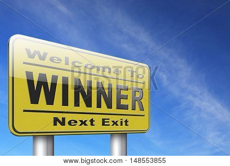 winner of medal and quiz results price and award or contest winners road sign 3D, illustration
