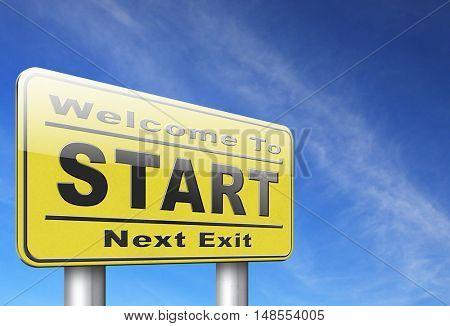 start new life or road to fresh begin, road sign billboard. 3D, illustration