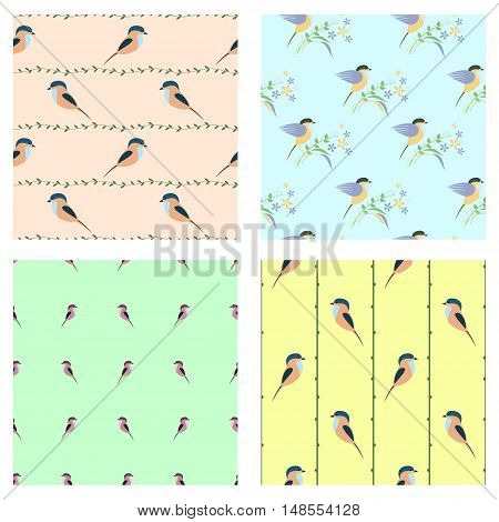 Set of seamless vector patterns with animals. Different colorful backgrounds with birds, branches with leaves. Graphic vector illustration. Series of Animals and Insects Seamless vector Patterns.