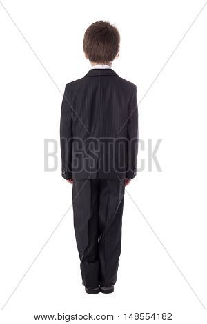 Back View Of Little Boy In Business Suit Isolated On White