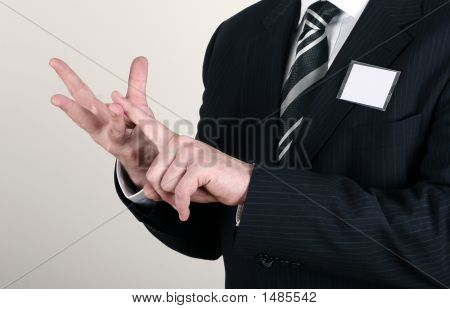 Business Man Making A Point