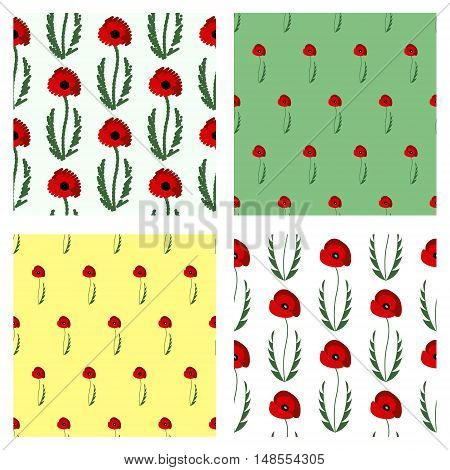 Set of seamless vector patterns with flowers. Bright symmetrical backgrounds with poppies with leaves. Graphic vector illustration. Series - set of seamless vector patterns.